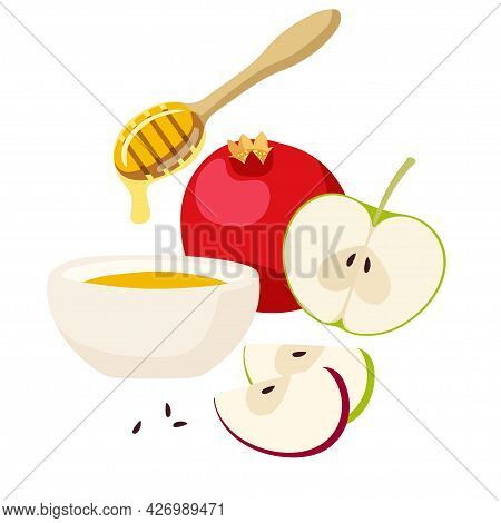 Apple, Pomegranate And Honey For Jewish New Year Holiday. Happy Rosh Hashanah Set With Traditional S