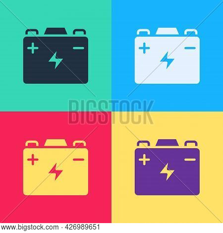 Pop Art Car Battery Icon Isolated On Color Background. Accumulator Battery Energy Power And Electric