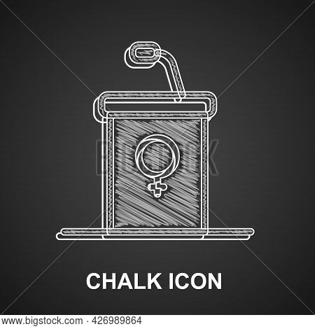 Chalk Stage Stand Or Debate Podium Rostrum Icon Isolated On Black Background. Conference Speech Trib