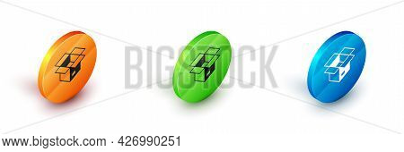 Isometric Unboxing Icon Isolated On White Background. Circle Button. Vector