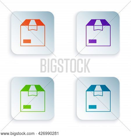 Color Carton Cardboard Box Icon Isolated On White Background. Box, Package, Parcel Sign. Delivery An