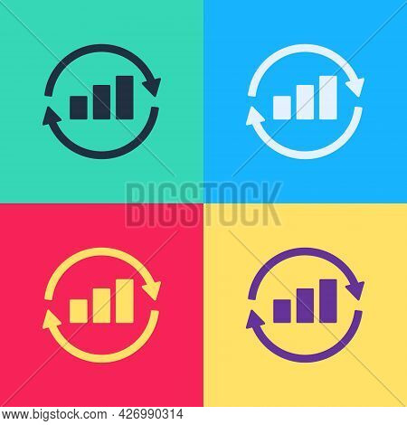 Pop Art Graph, Schedule, Chart, Diagram, Infographic, Pie Graph Icon Isolated On Color Background. V