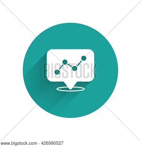 White Graph, Schedule, Chart, Diagram, Infographic, Pie Graph Icon Isolated With Long Shadow Backgro