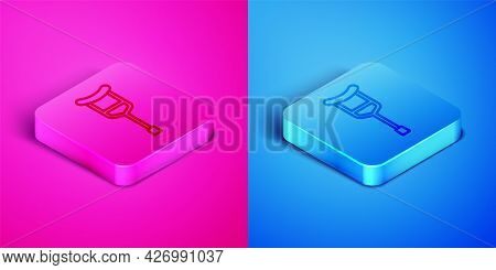 Isometric Line Crutch Or Crutches Icon Isolated On Pink And Blue Background. Equipment For Rehabilit