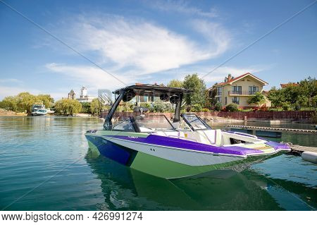 Pleasure Boat On The Water On A Sunny Summer Day.