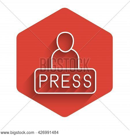 White Line Journalist News Reporter Icon Isolated With Long Shadow Background. Red Hexagon Button. V