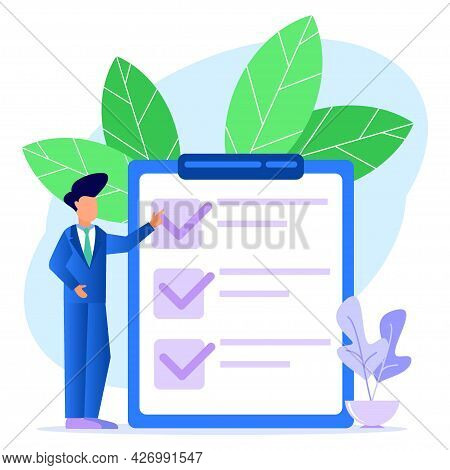 A Businessman Points In The Direction Indicated By A Checklist On The Blackboard. Successfully Compl