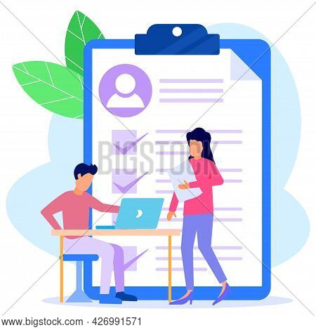 Flat Vector Illustration. Job Interview. Employee Evaluations, Appraisal Forms And Reports, Performa
