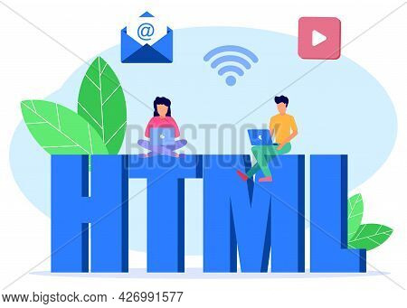 Flat Style Vector Illustration, Powerful Programmer Coding Website On Laptop Besides Word Html, Crea