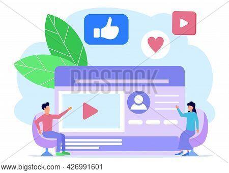 Vector Illustration Of Social Media Concept, Doing Business Via Internet, Interesting Content And Vi