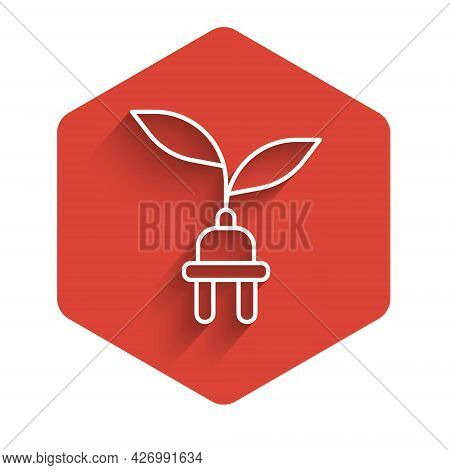 White Line Electric Saving Plug In Leaf Icon Isolated With Long Shadow Background. Save Energy Elect