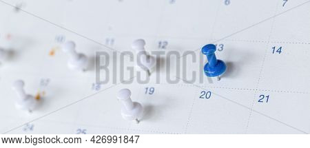 Close Up Of Calendar , Planner And Organizer To Plan And Reminder Daily Appointment, Meeting Agenda,