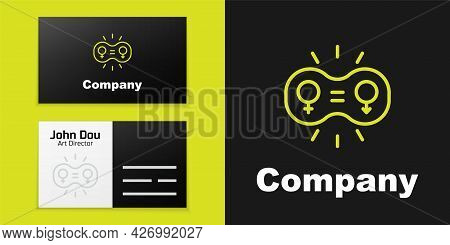 Logotype Line Gender Equality Icon Isolated On Black Background. Equal Pay And Opportunity Business