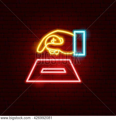Money Giving Hand Neon Sign. Vector Illustration Of Donation Promotion.