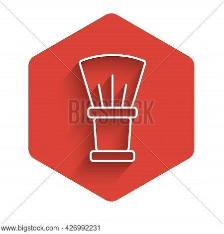 White Line Shaving Brush Icon Isolated With Long Shadow Background. Barbershop Symbol. Red Hexagon B