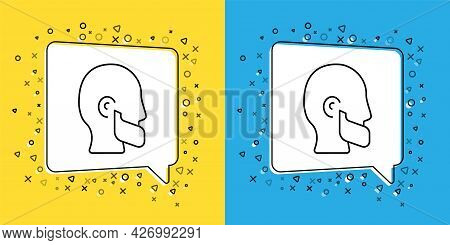 Set Line Mustache And Beard Icon Isolated On Yellow And Blue Background. Barbershop Symbol. Facial H