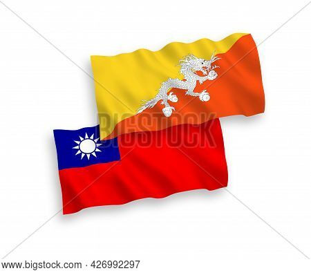 National Fabric Wave Flags Of Kingdom Of Bhutan And Taiwan Isolated On White Background. 1 To 2 Prop