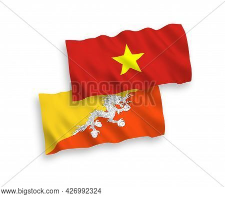 National Fabric Wave Flags Of Kingdom Of Bhutan And Vietnam Isolated On White Background. 1 To 2 Pro