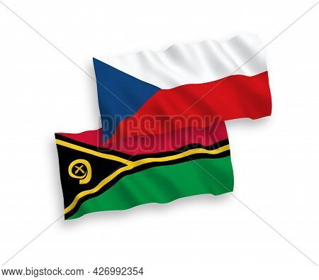National Fabric Wave Flags Of Czech Republic And Republic Of Vanuatu Isolated On White Background. 1