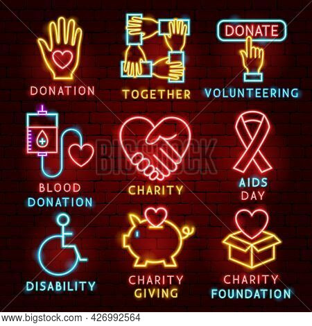 Donation Charity Label Set. Vector Illustration Of Donate Promotion.