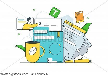 Parsing Documents Under Mug Of Coffee. Vector Pile Of Docs To Sign Line Art Style. Office, Paperwork