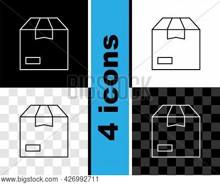 Set Line Carton Cardboard Box Icon Isolated On Black And White, Transparent Background. Box, Package