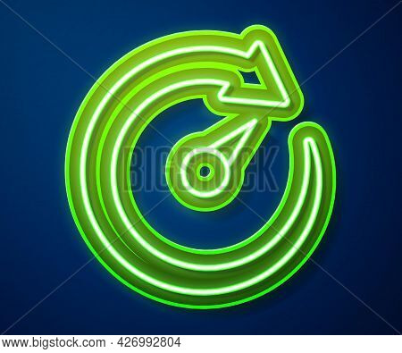 Glowing Neon Line Digital Speed Meter Icon Isolated On Blue Background. Global Network High Speed Co