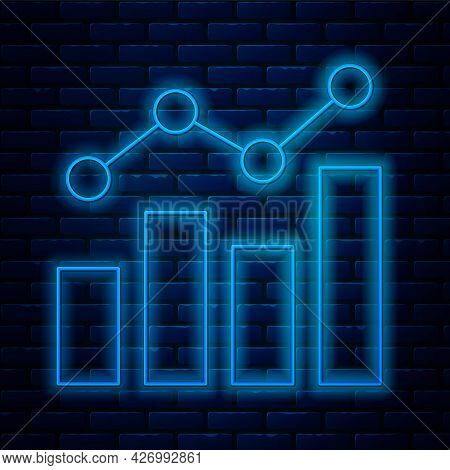 Glowing Neon Line Financial Growth Increase Icon Isolated On Brick Wall Background. Increasing Reven