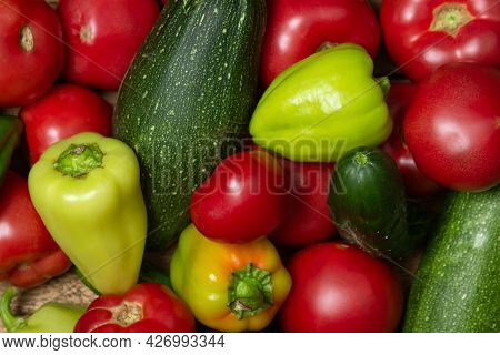 Vegetables On A Wooden Background. Ripe Natural Vegetables. Healthy Diet. Vegetables Close-up