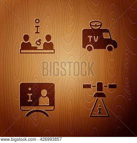 Set Satellite, Interview, Television Report And Tv News Car On Wooden Background. Vector