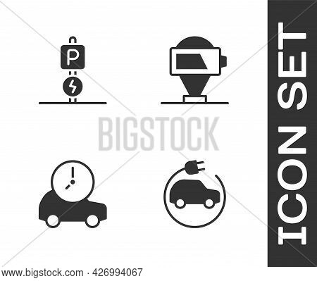 Set Electric Car, Charging Parking Electric, And Battery Charge Icon. Vector