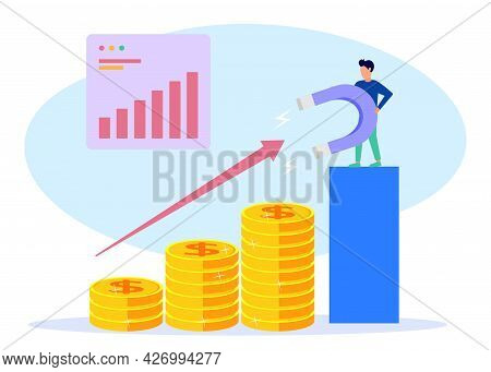 Vector Illustration Of Business Concept, Attract Investment Concept, Success Magnet, Money Attractio