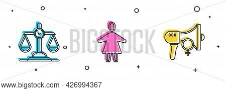 Set Gender Equality, Female And Feminist Activist Icon. Vector