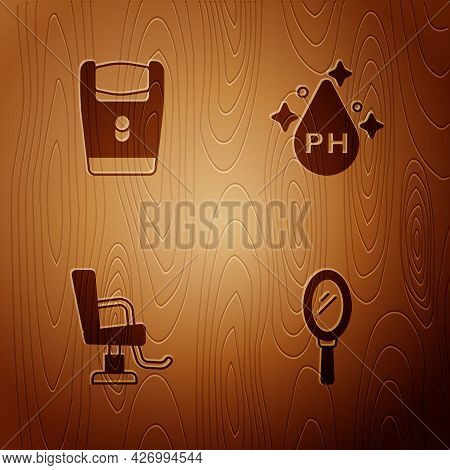 Set Hand Mirror, Electric Razor Blade, Barbershop Chair And Oil For Care Treatment On Wooden Backgro