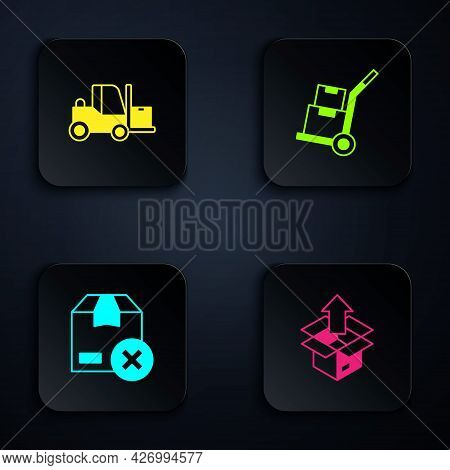 Set Unboxing, Forklift Truck, Carton Cardboard And Hand And Boxes. Black Square Button. Vector