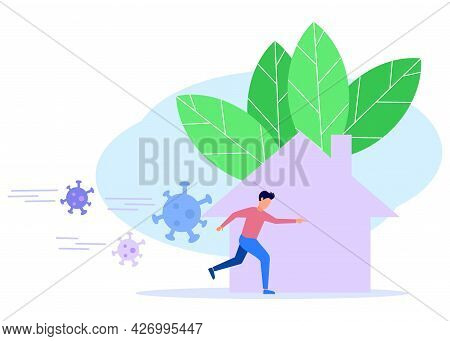 The Young Man Runs From The Danger Of The Virus Threat. The Corona Virus Crisis, The Concept Of The