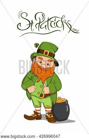 Happy Saint Patricks Day Illustration. Hand Drawn Leprechaun Character With Green Clover Leaf. Vecto