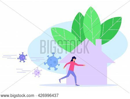 The Young Woman Runs From The Danger Of The Virus Threat. The Corona Virus Crisis, The Concept Of Th