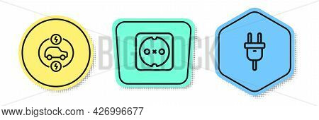Set Line Electric Car, Electrical Outlet And Plug. Colored Shapes. Vector