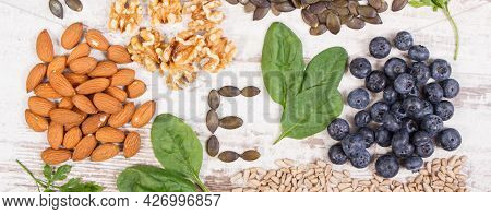 Ingredients Containing Vitamin E, Natural Minerals And Dietary Fiber, Healthy Nutrition Concept