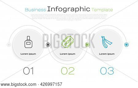 Set Line Aftershave, Blade Razor And Straight. Business Infographic Template. Vector