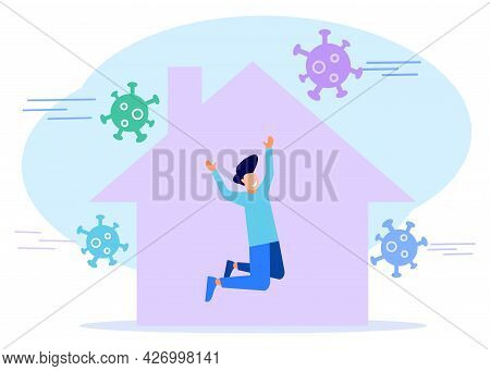 Vector Illustration, Isolate Yourself From Pandemic. A Man Is Doing Quarantine And Self-isolation At