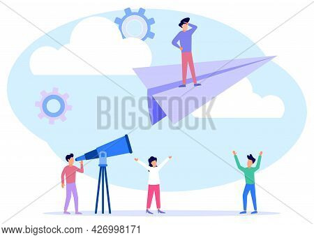 Vector Illustration, Concept Of Reaching A Goal, A Man Riding A Paper Airplane, Colleagues Below Giv