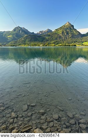 Beautiful Landscape With Lake And Mountains In Summer. Natural Colorful Background. Wolfgangsee Lake