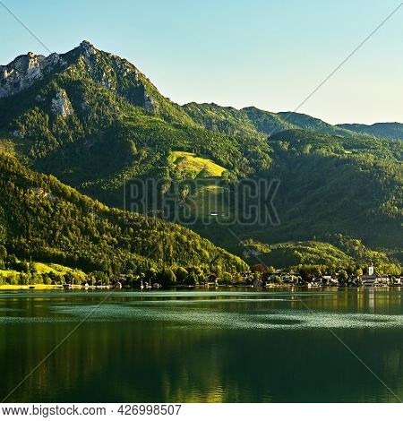 Wolfgangsee Lake In Summer. Beautiful Austrian Landscape With Lake And Mountains In The Alps.