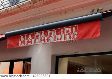 Toulouse , Occitanie France  - 06 25 2021 : Napapijri Brand Sign And Logo Text Of Shop Entrance For