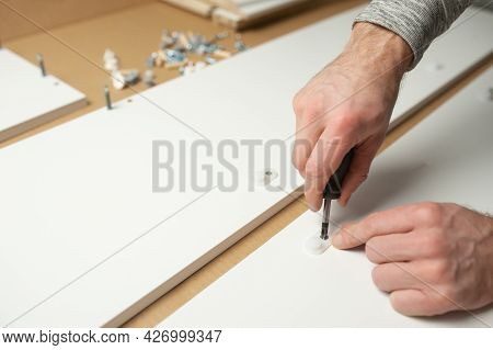 Master Man Install Assembling Furniture Do It Yourself. Home Repairs