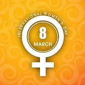 Happy Women's Day background with feminine symbol and text 8th March. poster
