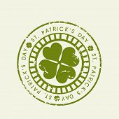 St. Patrick's Day grungy rubber stamp with shamrock leaf. EPS 10 poster