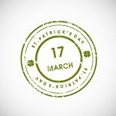 St. Patrick's Day grungy rubber stamp with 17 March text. EPS 10. poster